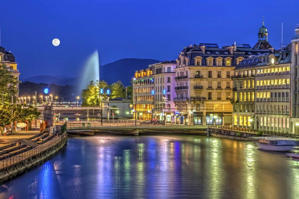 Photo ville de Genève la nuit
